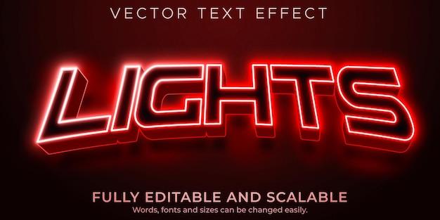 Światła sportowe edytowalny efekt tekstowy, styl tekstu rgb i neonu