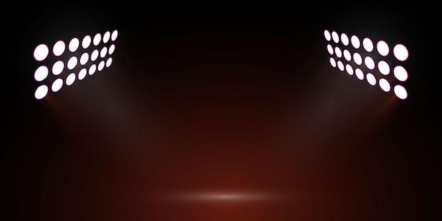 Światła stadionu piłkarskiego. reflektor sceniczny