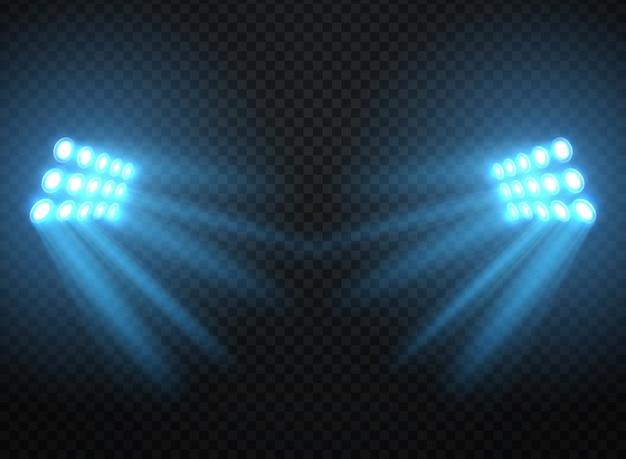 Światła stadionu, pojedyncze błyszczące projektory. wektor reflektor szablon