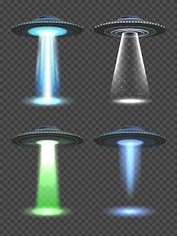 Światła ufo. futurystyczny reflektor kosmiczny z przezroczystym światłem mgły przyszłych technologii realistyczne ilustracje wektorowe. futurystyczny statek kosmiczny, reflektor kosmiczny