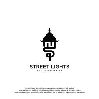 Światła uliczne logo szablon wektor projektu