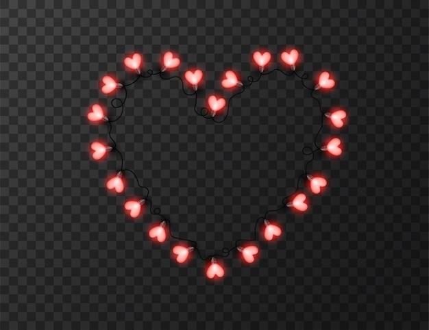 Światła W Kształcie Serca Na Przezroczystym Tle Premium Wektorów