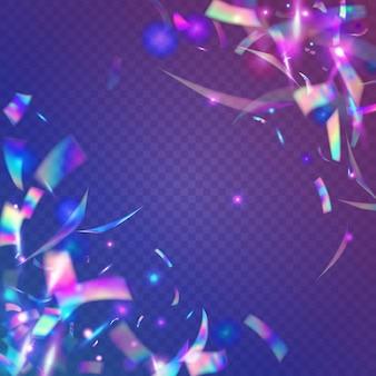 Światło błyszczy. fioletowa dyskoteka tekstura. gradient rozmycia bożego narodzenia. ulotka retro. sztuka webpunka. karnawałowy blichtr. nowoczesna folia. holograficzny blask. niebieskie światło błyszczy