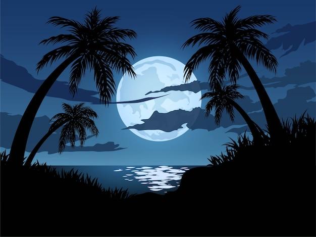 Światło księżyca na tropikalnej plaży