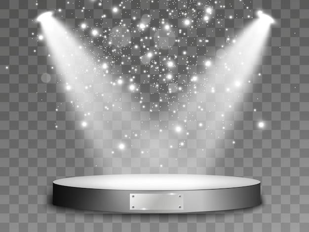 Światło na podium. scena ceremonii wręczenia nagród. reflektor oświetlający scenę. ilustracja.