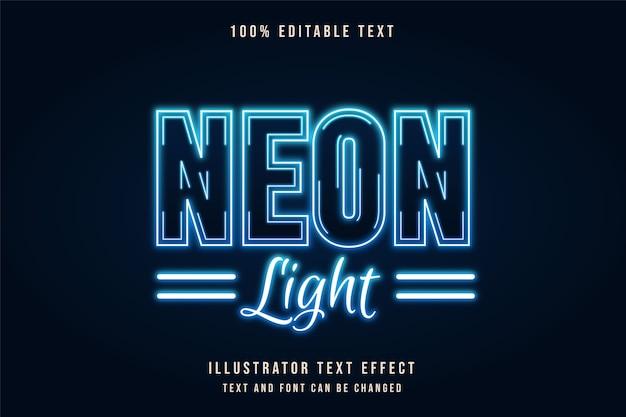 Światło neonowe, efekt edytowalnego tekstu 3d, efekt niebieskiej gradacji tekstu neonowego