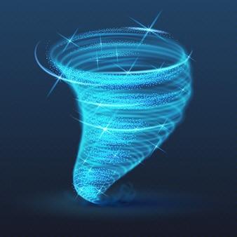 Światło oświetlone trąba powietrzna, świecący efekt wektora tornada. shining blizzard i tajfun whirlwind, wirowa burza huragan ilustracja