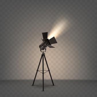 Światło reflektorów realistyczna ilustracja z ciepłym światłem