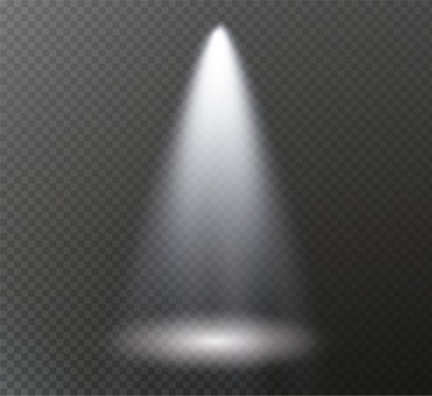 Światło reflektorów świeci na scenie. światło z lampy.