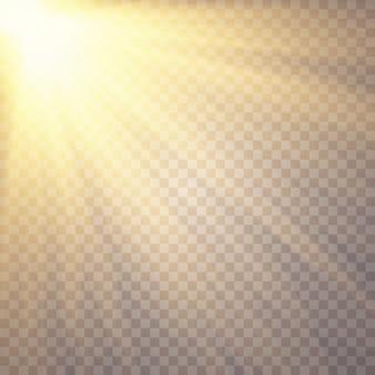 Światło słoneczne na przezroczystym. efekty świetlne.