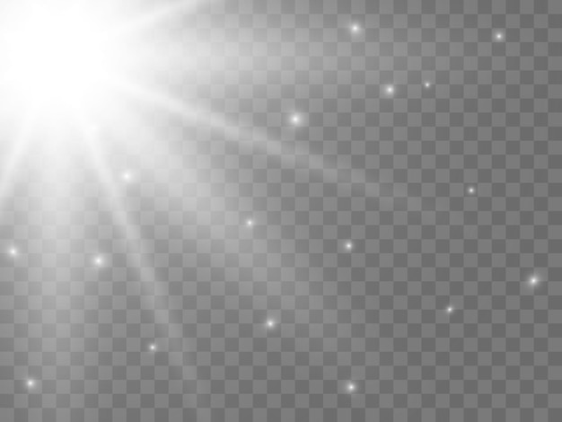 Światło słoneczne na przezroczystym tle. na białym tle białe promienie światła. ilustracja wektorowa