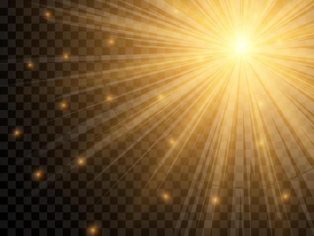 Światło słoneczne na przezroczystym tle. na białym tle żółte promienie światła. ilustracja wektorowa