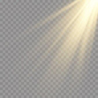 Światło słoneczne półprzezroczysty specjalny efekt świetlny. izolowane światło słoneczne przezroczyste tło. rozmycie w świetle blasku.