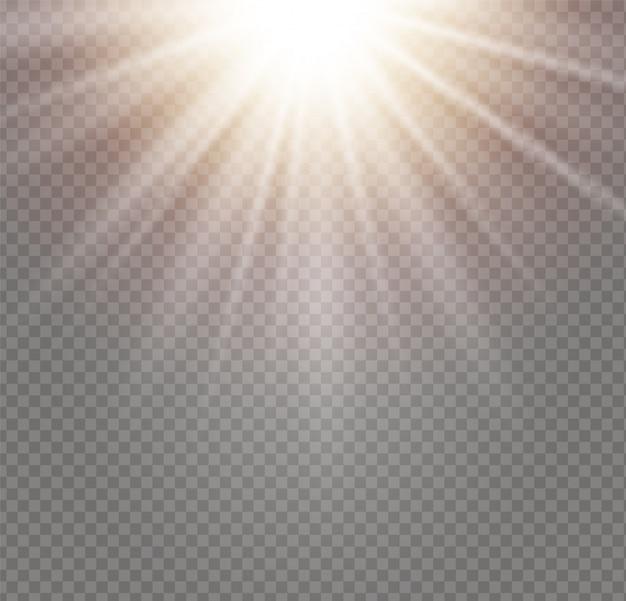 Światło słoneczne półprzezroczysty specjalny projekt efektu świetlnego. izolowane światło słoneczne przezroczyste tło.