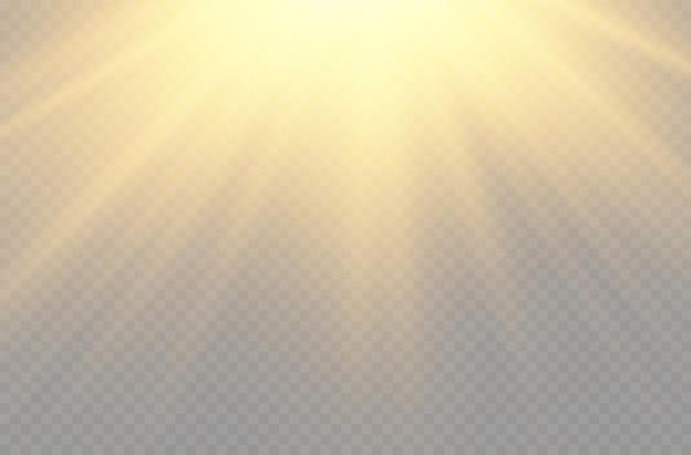 Światło słoneczne z jasnym wybuchowym światłem błyskowym magia błyszczy promienie słoneczne efekt żółtej wiązki