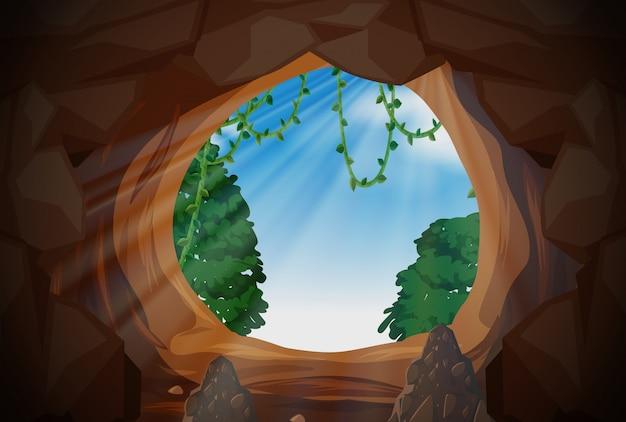 Światło słoneczne z zewnątrz jaskini