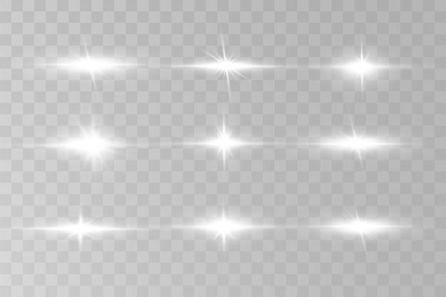 Światło wybucha na przezroczystym tle