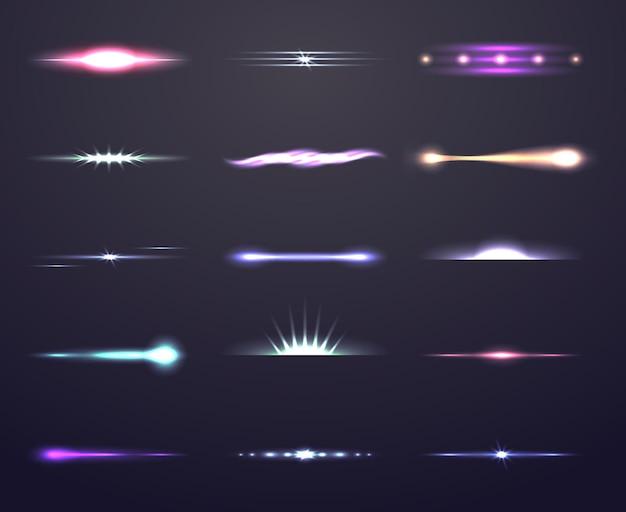 Światło z efektem soczewki lub zestawem ilustracji blasku światła