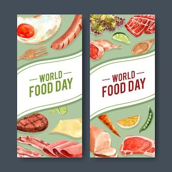 Światowa dzień żywności ulotka z kiełbasą, smażone jajka, marchew, stek wołowy akwarela ilustracja.