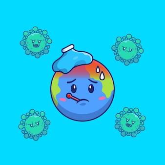 Światowa gorączka wirusa koronowego ikona ilustracja. postać z kreskówki maskotka corona. koncepcja świata ikona na białym tle