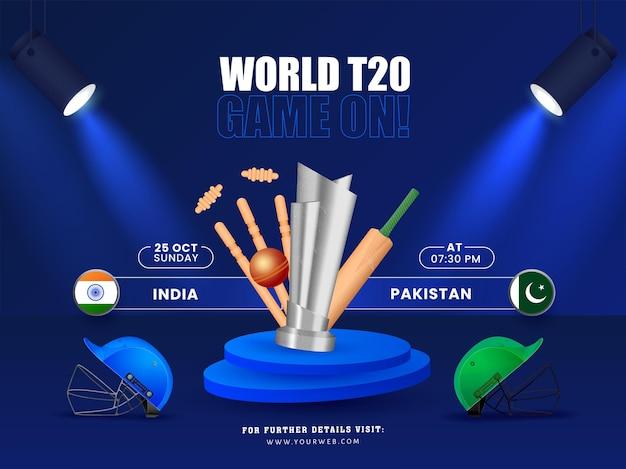 Światowa gra t20 włączona! koncepcja z sprzętem do krykieta 3d i zespołem uczestniczącym indie vs pakistan na niebieskim tle.