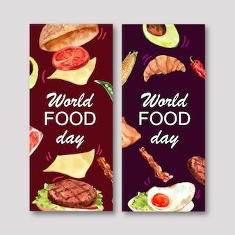 Światowa karmowa dzień ulotka z hamburgerem, smażąca jajeczna akwareli ilustracja.