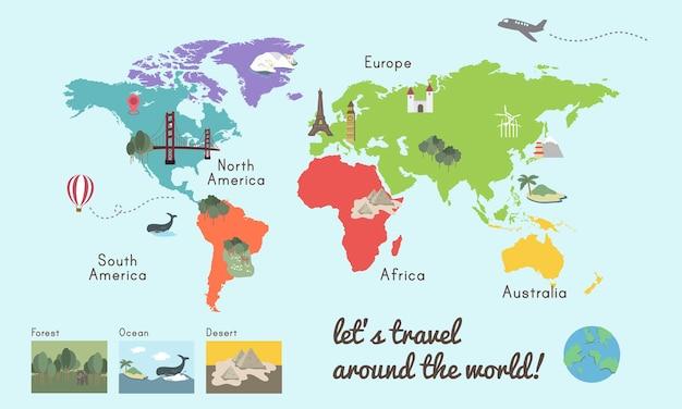Światowa kontynent mapy miejsca grafiki ilustracja