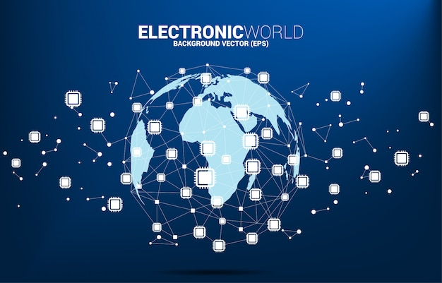 Światowa kula z ikoną procesora wielokątna kropka połączona linią. koncepcja globalnej technologii procesorowej.