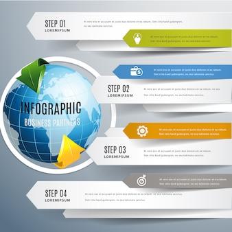 Światowa nowożytna strzałkowata infographic.