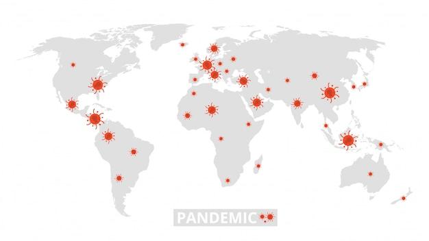 Światowa pandemia. epidemia wirusów na mapie świata. baner informacyjny z koronawirusem
