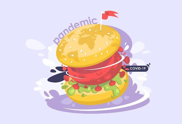Światowa pandemia koronawirusa. duży burger z komórką wirusową.