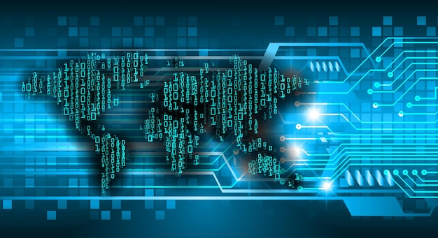 Światowa płytka drukowana binarna technologia przyszłości niebieski hud koncepcja bezpieczeństwa cybernetycznego w tle