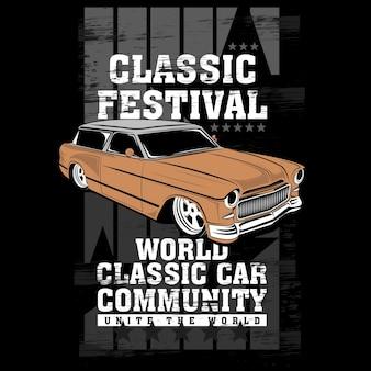 Światowa społeczność klasyczna, wektorowa ilustracja samochodu