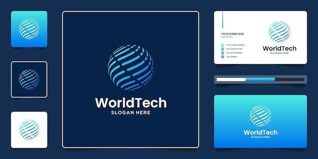 Światowa technologia abstrakcyjna kuli ziemskiej nowoczesna z gradientowym niebieskim i wizytówkowym szablonem .