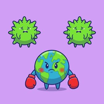 Światowa walka z korona wirusa ikony ilustracją. postać z kreskówki maskotka corona. koncepcja świata ikona na białym tle
