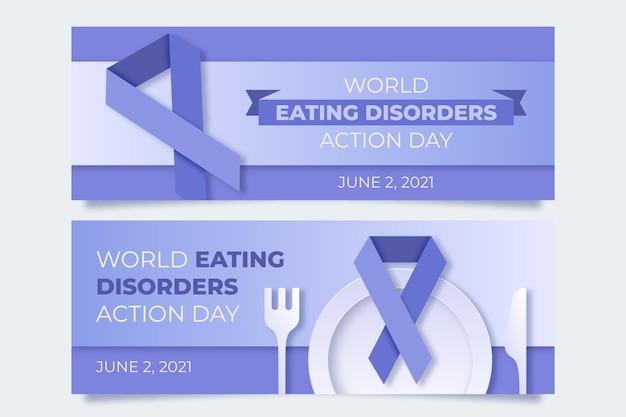 Światowe banery dnia akcji zaburzeń odżywiania ustawione w stylu papierowym