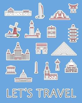 Światowe etykiety podróżne ustawione w stylu liniowym