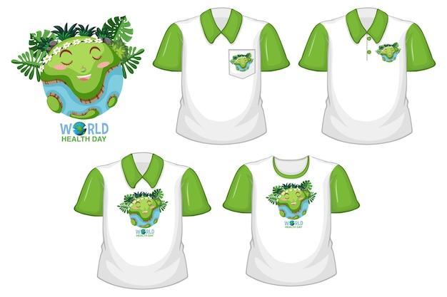 Światowe logo dnia zdrowia i zestaw różnych białych koszul z zielonymi krótkimi rękawami na białym tle