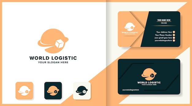 Światowe logo logistyczne i projekt wizytówki