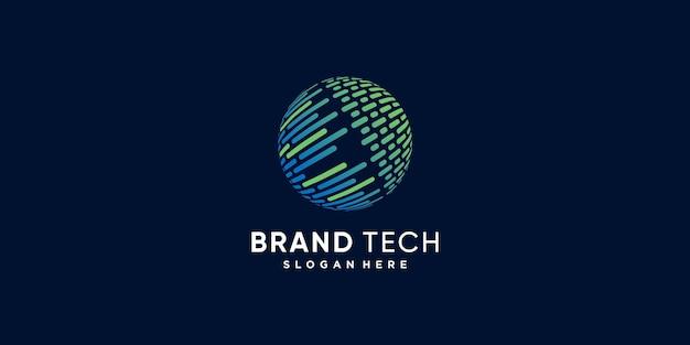 Światowe logo z kreatywną koncepcją nowoczesnej technologii premium wektorów część 4