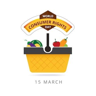 Światowe prawa konsumenckie 15 marca. projekt logo