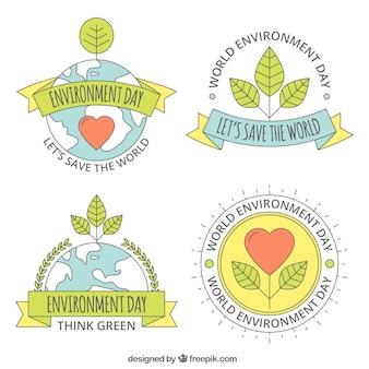 Światowe środowisko dzień lable kolekcja z serca