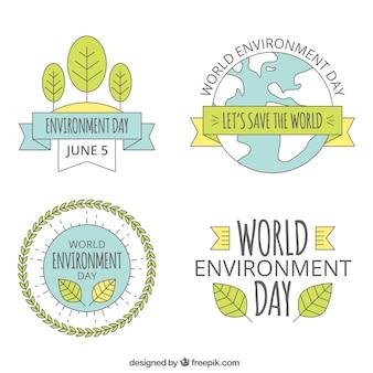 Światowe środowisko dzień lable kolekcja z wstążkami