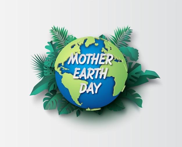 Światowe środowisko I Koncepcja Dnia Ziemi, Cięcie Papieru, Styl Kolażu Papieru Z Cyfrowym Rzemiosłem. Premium Wektorów