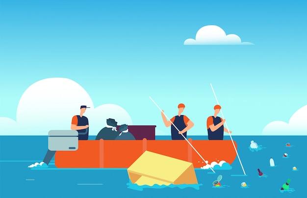 Światowe zanieczyszczenie oceanów. ludzie w łodzi zbierających śmieci plastikowe w morzu. zanieczyszczona woda środowiska kreskówka wektor ilustracja