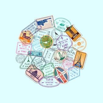 Światowe znaki imigracyjne i znaczki pocztowe zebrane w ilustracji koła