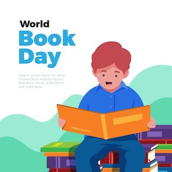 Światowego dnia książkowa ilustracja z chłopiec czytaniem