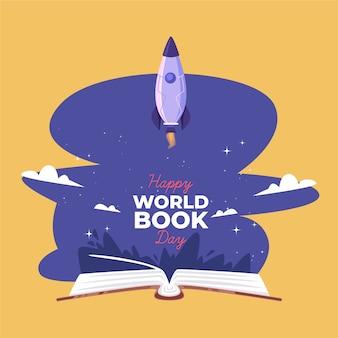 Światowego dnia książkowa ilustracja z rakietą i książką