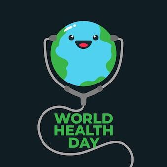 Światowego zdrowie dnia ilustracyjnego światowego uśmiechu szczęśliwy sztandar