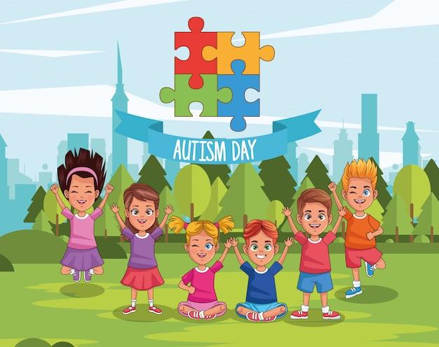 Światowy autyzmu dzień z dzieciakami w śródpolnym wektorowym ilustracyjnym projekcie